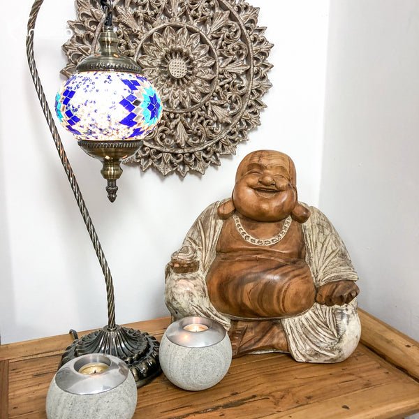 sideboard-decor-zen-wall-art-table-lamp-porta-vela-buddha