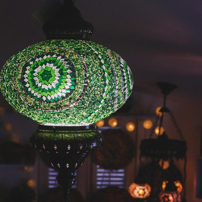 A180 V lustre pendente mosaico turco turkish mosaic lamps decoracao colorida verde 3