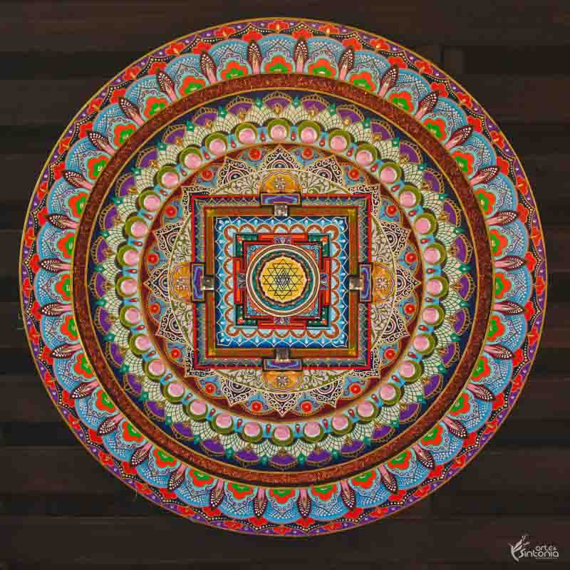 mandala decorativa hinduism sri yantra wall decoration colorida
