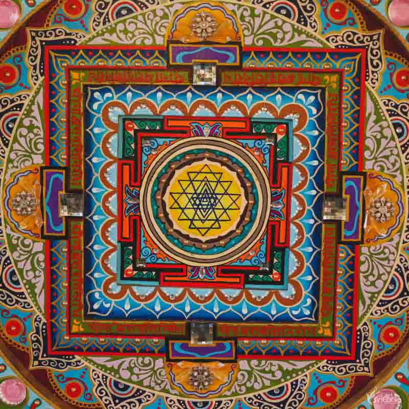 mandala sri yantra colorida personalizada brilhos decoracao zen wall decor