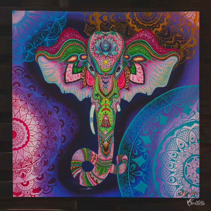 quadro mandala colorida wall decor zen deus hindu lord ganesha