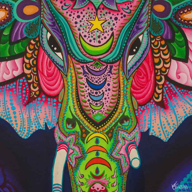 pintura tela colorida ganesh hinduist god decoracao parede