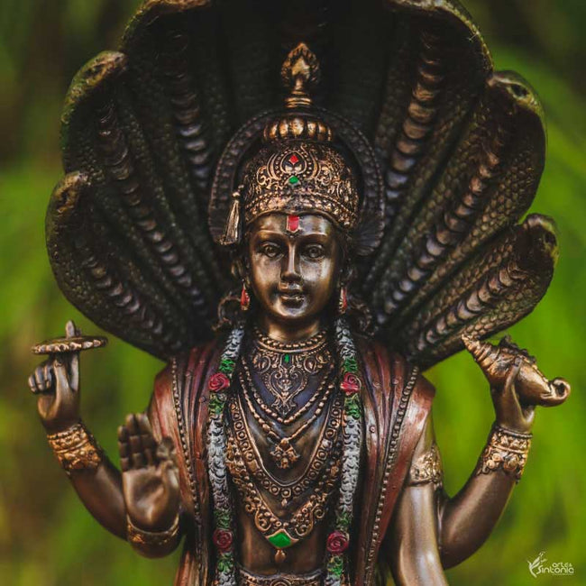 escultura resina deus vishnu home decor zen space