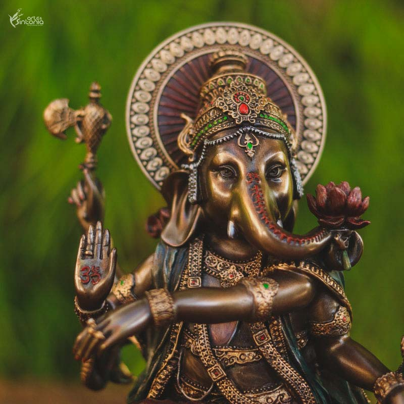 escultura decorativa deus hindu home decoration ganesh dancando pintura metalica