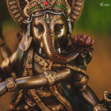 escultura decorativa hindu home decor deus ganesh dancarino pintura metalica