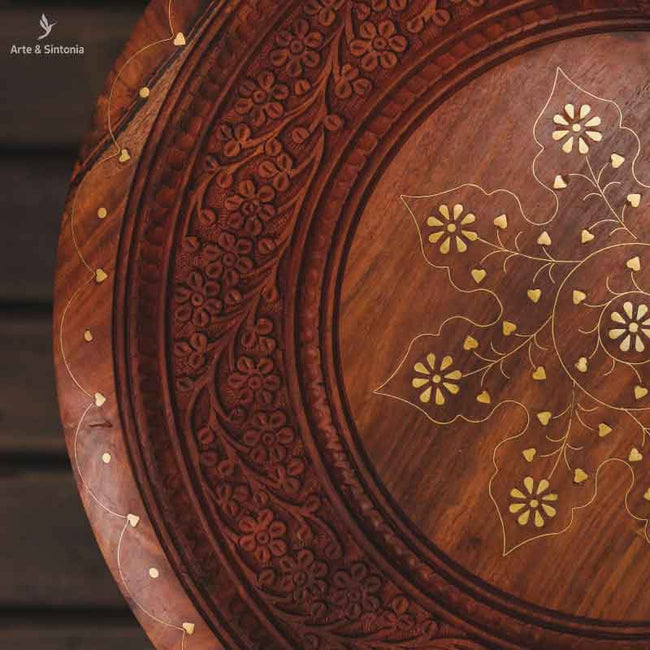 indian-hand-carved-wooden-round-table-octogonal-base-mesinha-madeira-entalhada-floral-indiana-pintura-artistica-dourada