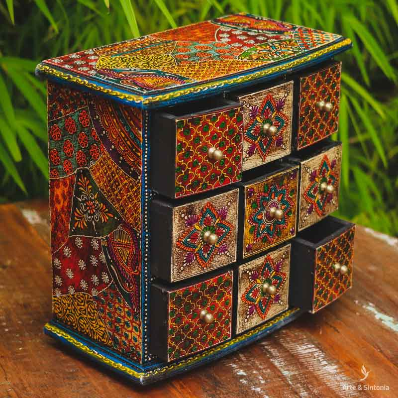 indian-objects-holder-wooden-organizing-box-caixa-madeira-mini-comoda-gaveteiro-porta-gavetas-desenhos-florais-coloridos-india