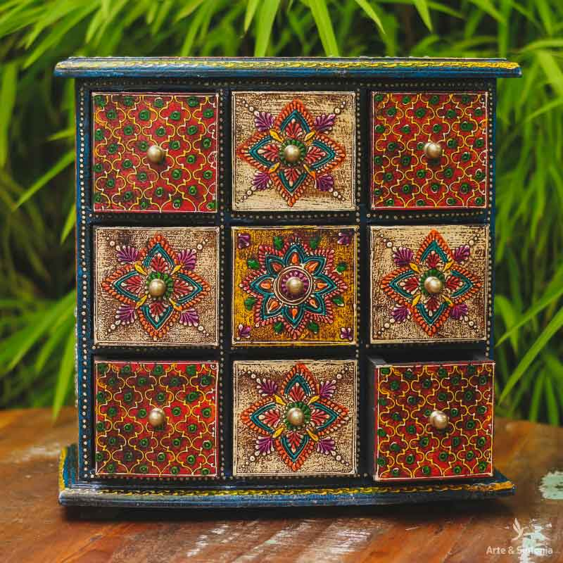indian-objects-jewelry-holder-wooden-organizing-box-caixa-madeira-mini-comoda-gaveteiro-artesanal-porta-gavetas-desenhos-florais-coloridos-indianos