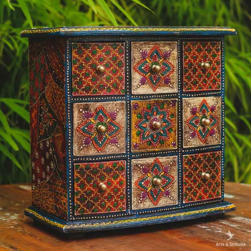 indian-jewelry-organizing-box-wooden-arts-caixa-organizadora-madeira-mini-gaveteiro-artesanal-porta-gavetas-desenhos-mandalas-coloridas-mix-estampas-indianas