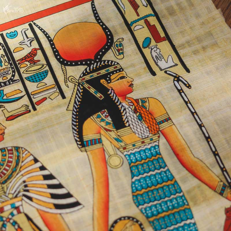 ancient-egyptian-art-wall-decoration-papyrus-paper-painting-papel-papiro-decoracao-parede-egito-hathor-nefertari