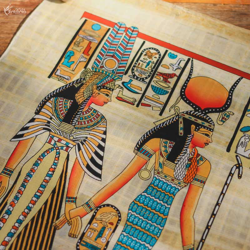 ancient-egyptian-art-wall-decoration-papyrus-paper-painting-papel-papiro-decoracao-parede-egito-deusa-hathor-rainha-nefertari