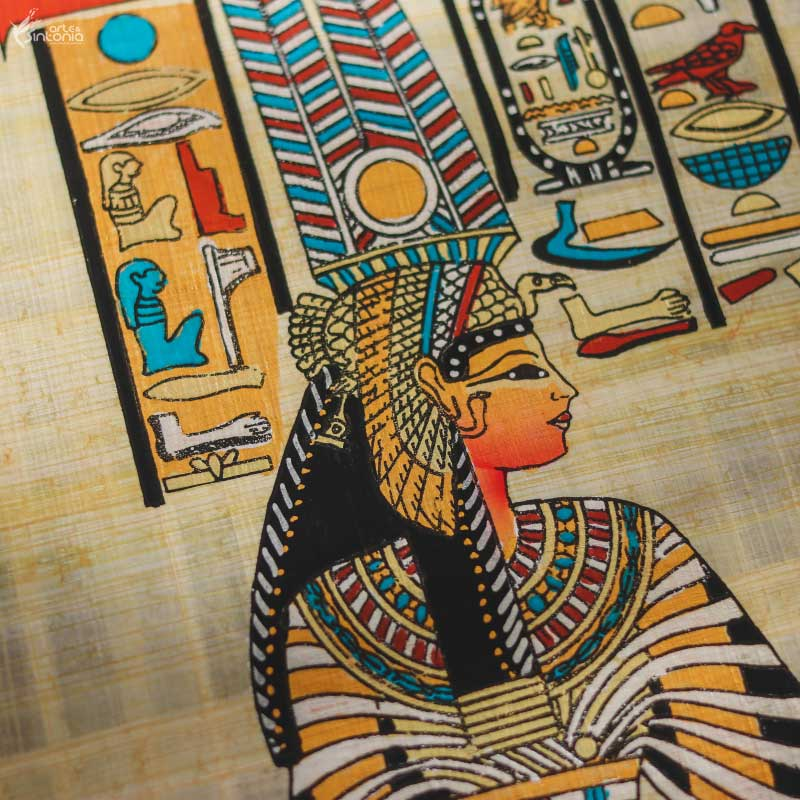 ancient-egyptian-wall-art-decor-papyrus-paper-painting-papel-papiro-original-autenticado-decoracao-parede-egito-deusa-hathor-rainha-nefertari