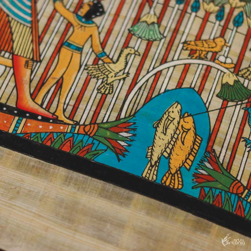 anciant-art-papyrus-painting-egyptian-craft-papel-papiro-artesanal-autentico-decoracao-interiores-egito-wall-art