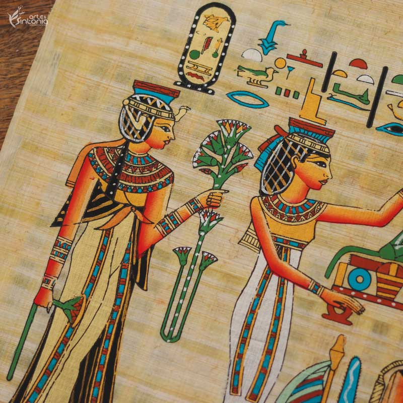 handmade-papyrus-painting-decorative-wall-art-goddess-protection-papel-artesanal-papiro-ramses-protecao-isis-decoracao-parede-estilo-etnico-home-decor