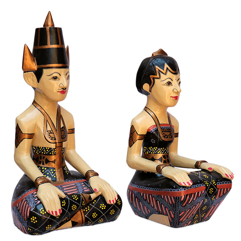 javanese loro blonyo casal inseparavel amor incondicional escultura madeira handmade art bali home decor indonesian wedding bride groom decoracao etnica