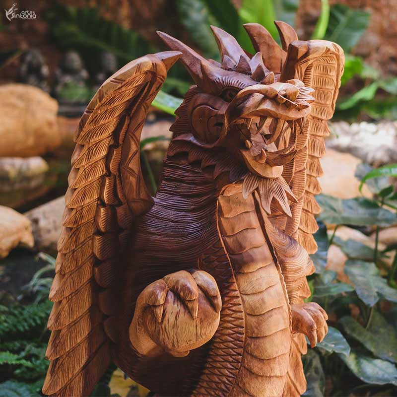 GL34 19 escultura dragao madeira animais decorativos home decor bali arte indonesia artesintonia 11