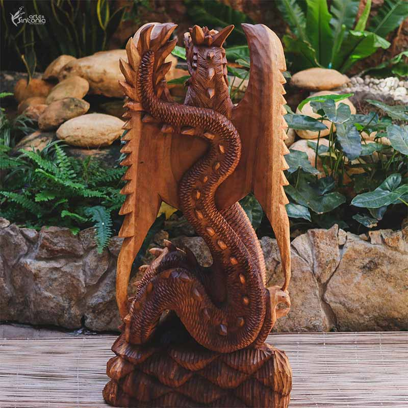 GL34 19 escultura dragao madeira animais decorativos home decor bali arte indonesia artesintonia 8