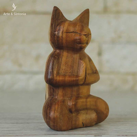 escultura madeira urso meditando animais decorativos abstrata home decor decoracao balinesa bali indonesia artesintonia gato namaste wood cat carved 4