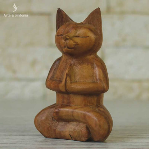 escultura madeira urso meditando animais decorativos abstrata home decor decoracao balinesa bali indonesia artesintonia gato namaste wood cat carved 2
