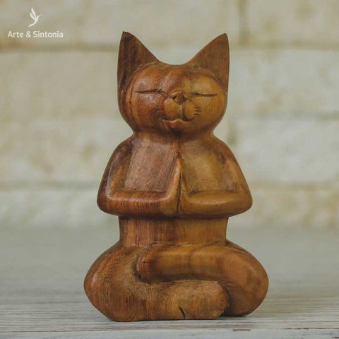 escultura madeira urso meditando animais decorativos abstrata home decor decoracao balinesa bali indonesia artesintonia gato namaste wood cat carved 1