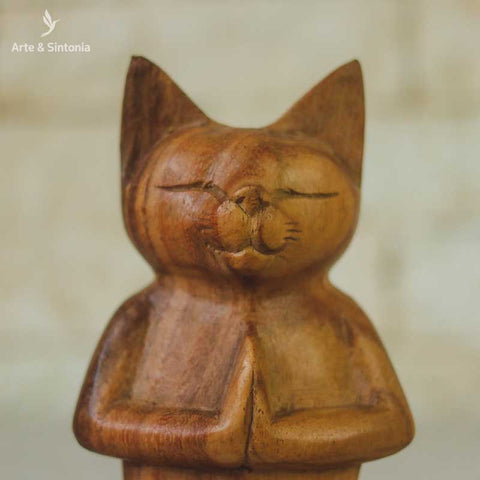 escultura madeira urso meditando animais decorativos abstrata home decor decoracao balinesa bali indonesia artesintonia gato namaste wood cat carved 6