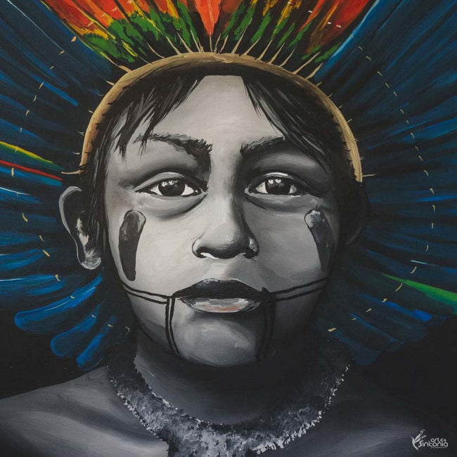 canvas arte brasileira matheus pereira indio curumim kayapo home decor artwork