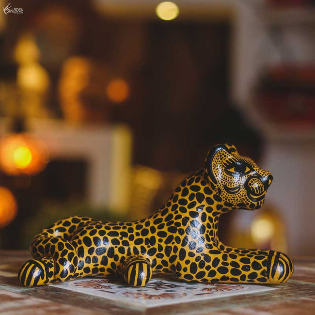 MEX04 animais decorativo jaguar oaxaca mexico madera tigresa artesanato home decor decoracao indiana artesintonia 1