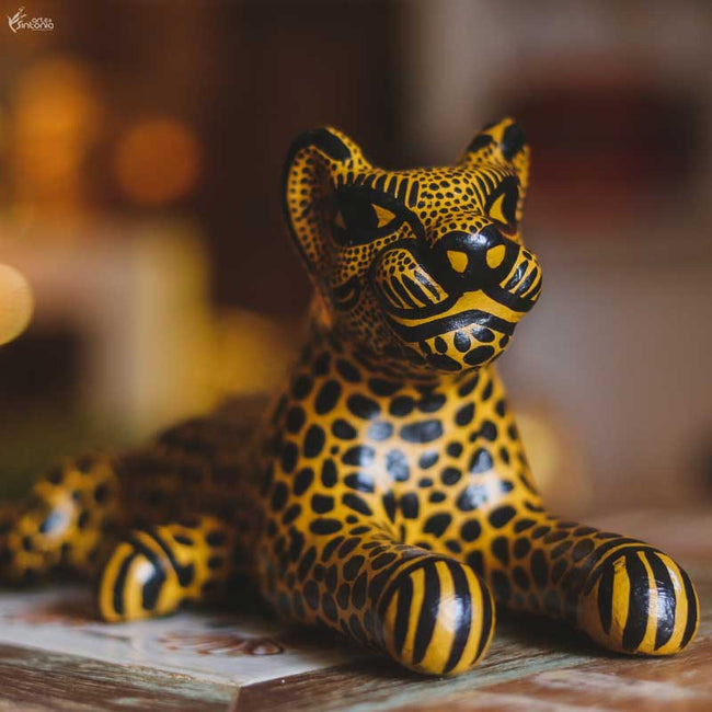 MEX04 animais decorativo jaguar oaxaca mexico madera tigresa artesanato home decor decoracao indiana artesintonia 2