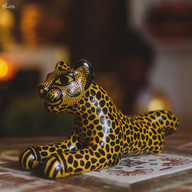 MEX04 animais decorativo jaguar oaxaca mexico madera tigresa artesanato home decor decoracao indiana artesintonia 4