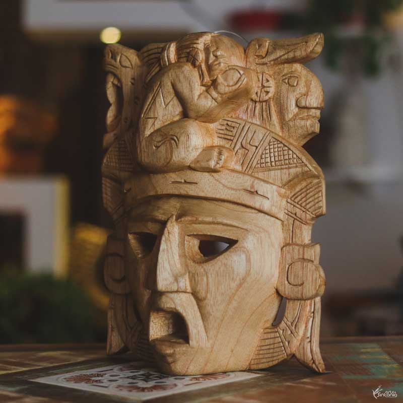 MEX10 mascara decorativa maya asteca azteca wood carved entalhada tallha mexicana artesanal arte home decor natural decoracao artesintonia 2