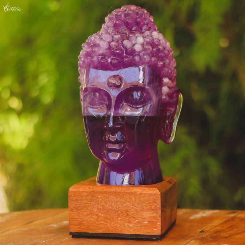 abajur decorativo resina roxo ametista buddha lamp zen home decor