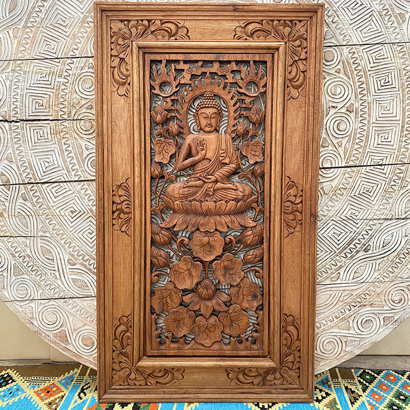 quadro painel buda entalhado decoracao balinesa paredes wood carved carving