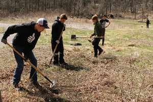 Trail work on the North Country National Scenic Trail. Grand Rapids Christian Middle School.