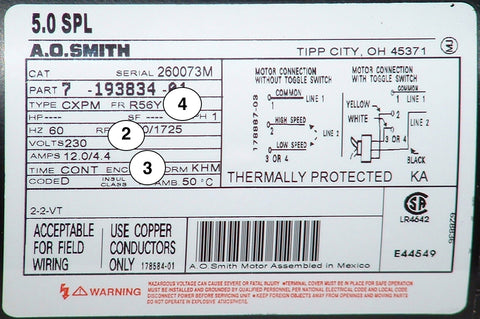 Hot tub pump motor Identifying label