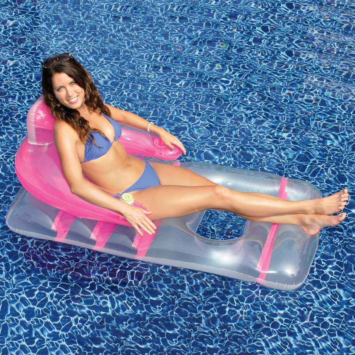 Swimways Float Pool Store Canada Deluxe Lounge Chair with Drinks Holder - Pink - Pool Store Canada