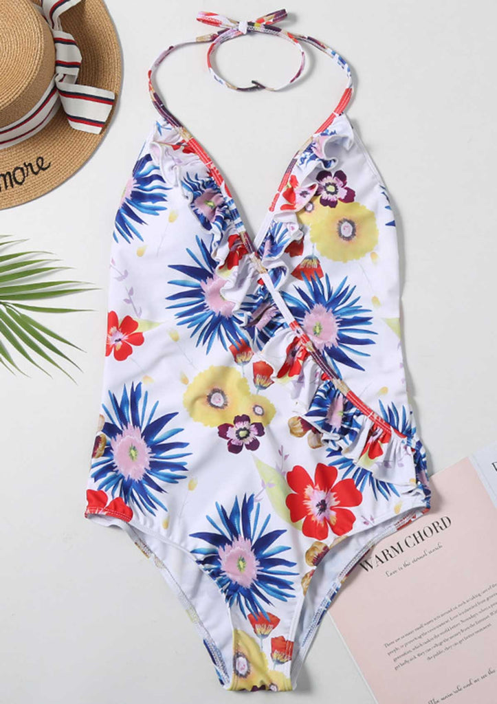 Floral Halter Ruffle One-piece Swimsuit