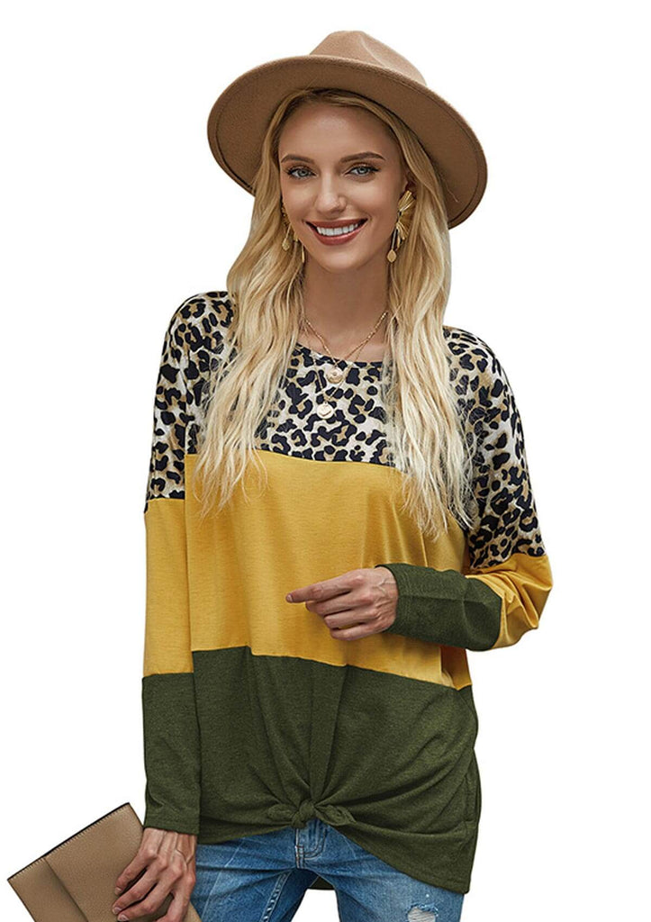 Leopard Printed Color Block Tops