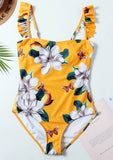 Floral Print Ruffle One-Piece Swimsuit