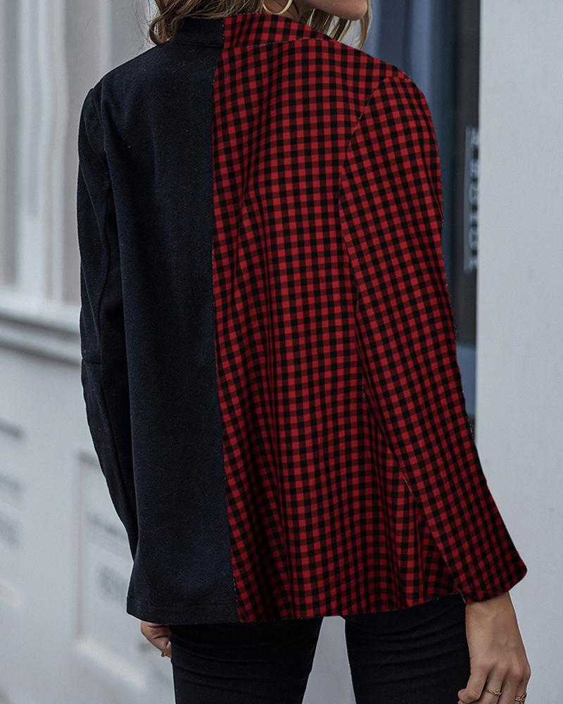 Plaid Patchwork Long Sleeve Coats