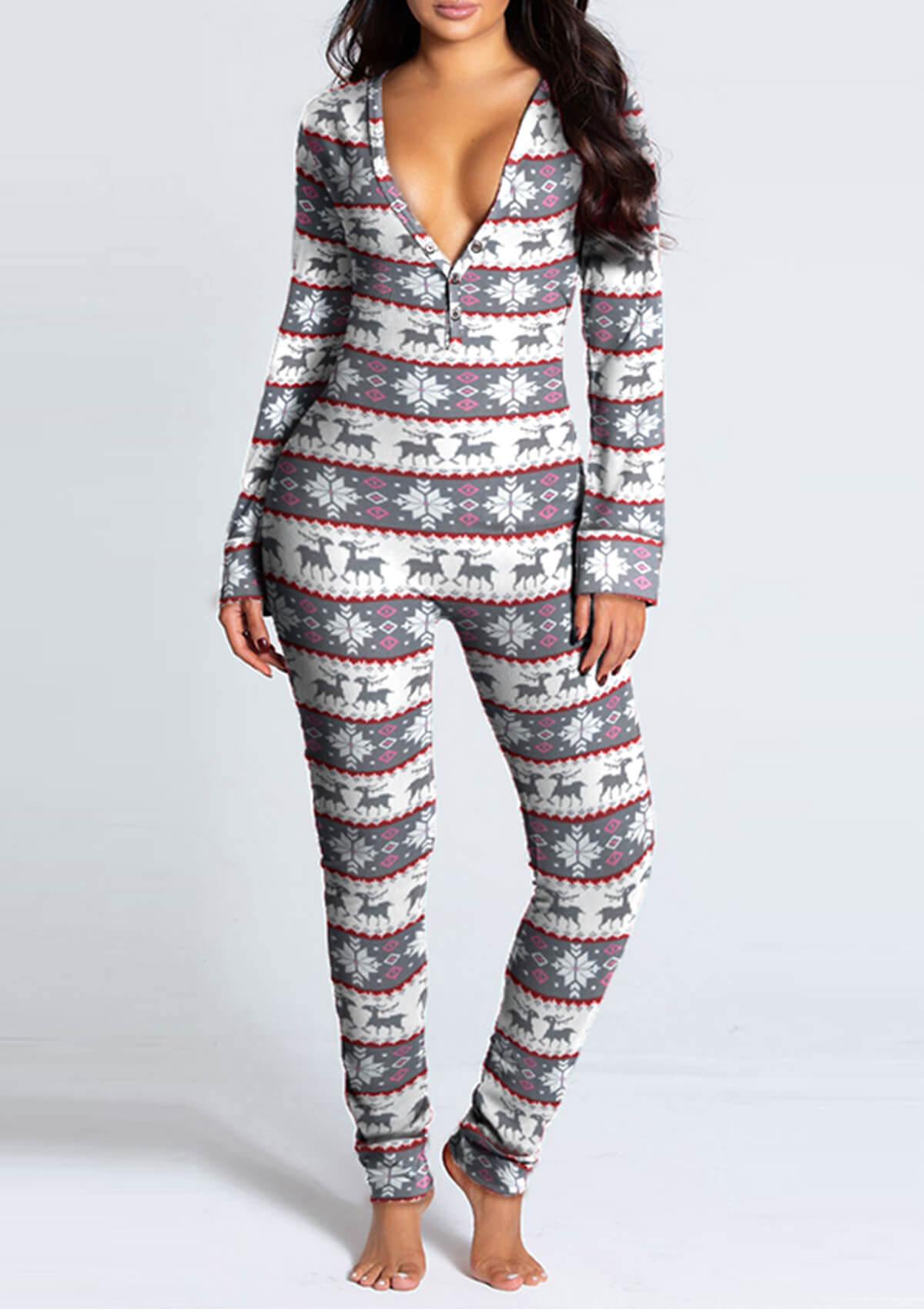 Solid Functional Buttoned Adults Pajamas