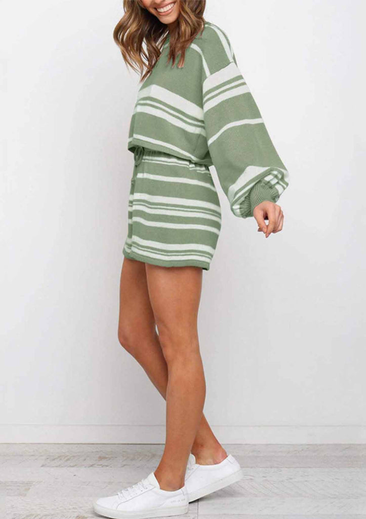 Striped Round-neck Sweater Set