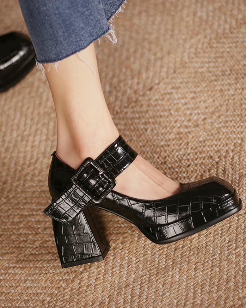 Solid One Bandage Block Heel Jenny Shoes