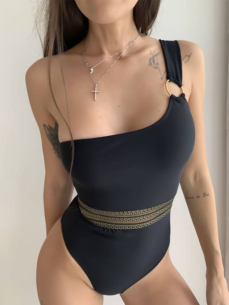 Bronzing Lace-up One Shoulder Swimsuit