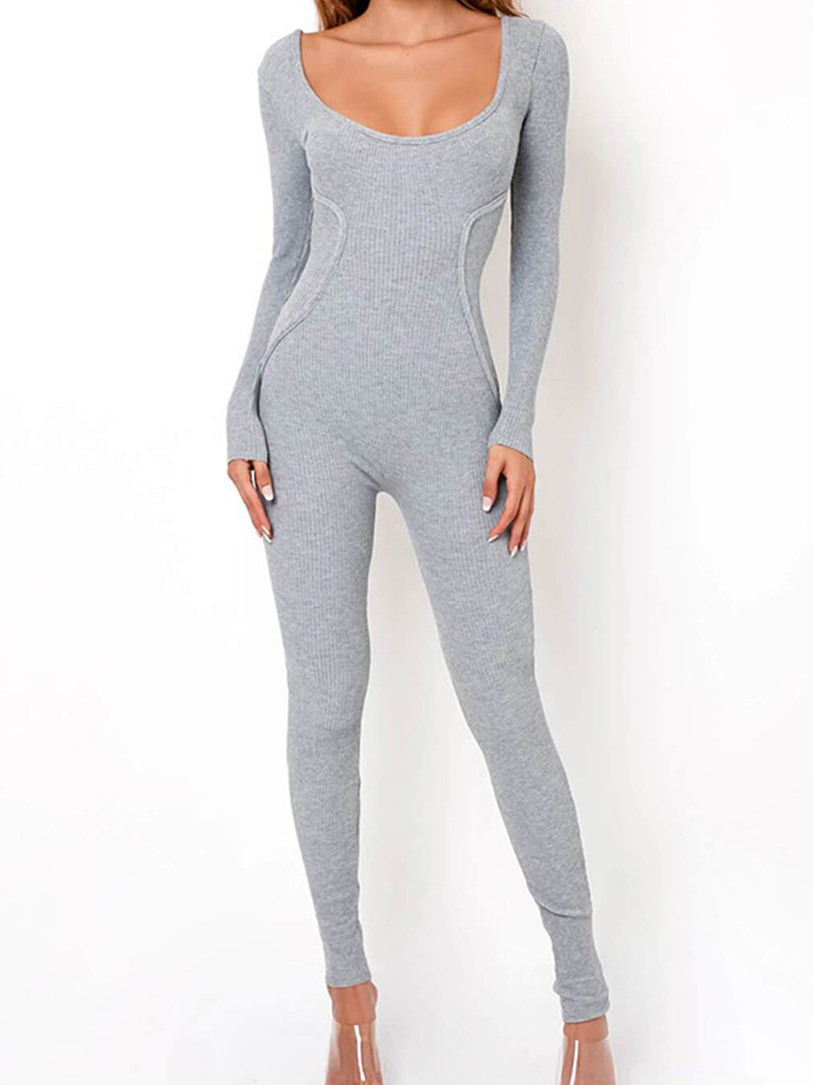 U-neck Solid Color Tight Jumpsuit