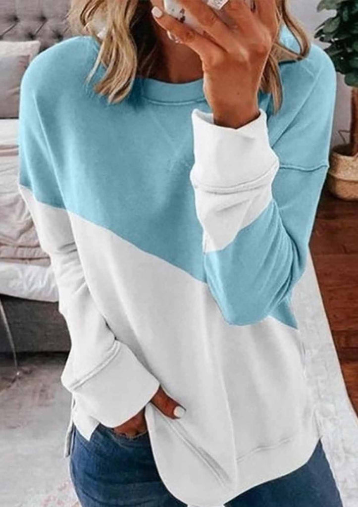 Color Block Round-neck Sweatshirt
