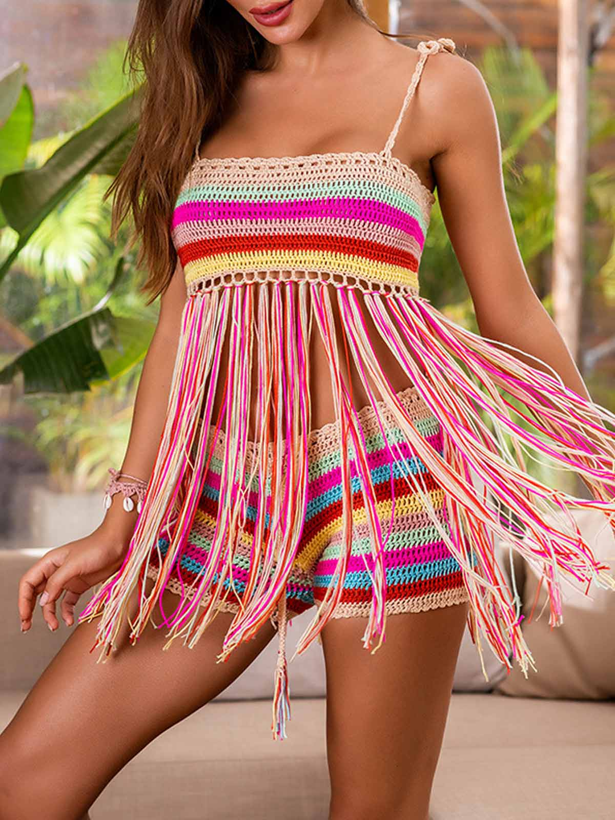 Crochet Tassel Rainbow Split Swimsuit