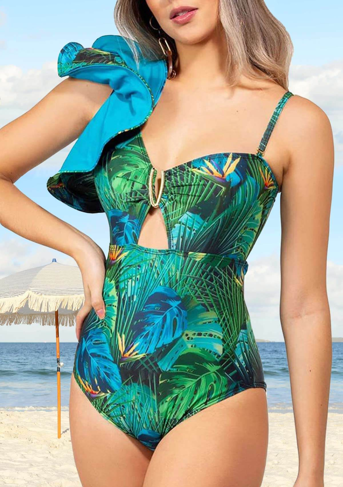 Ruffles Leaf Print One Shoulder Swimsuit