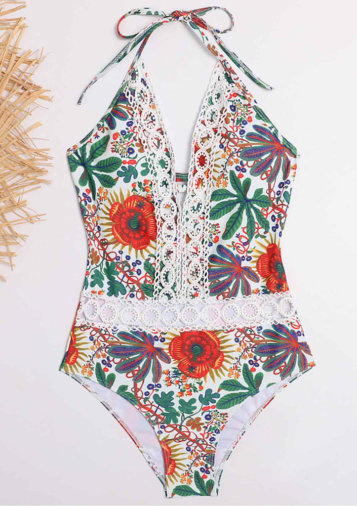 Halter Floral One Piece Swimsuit