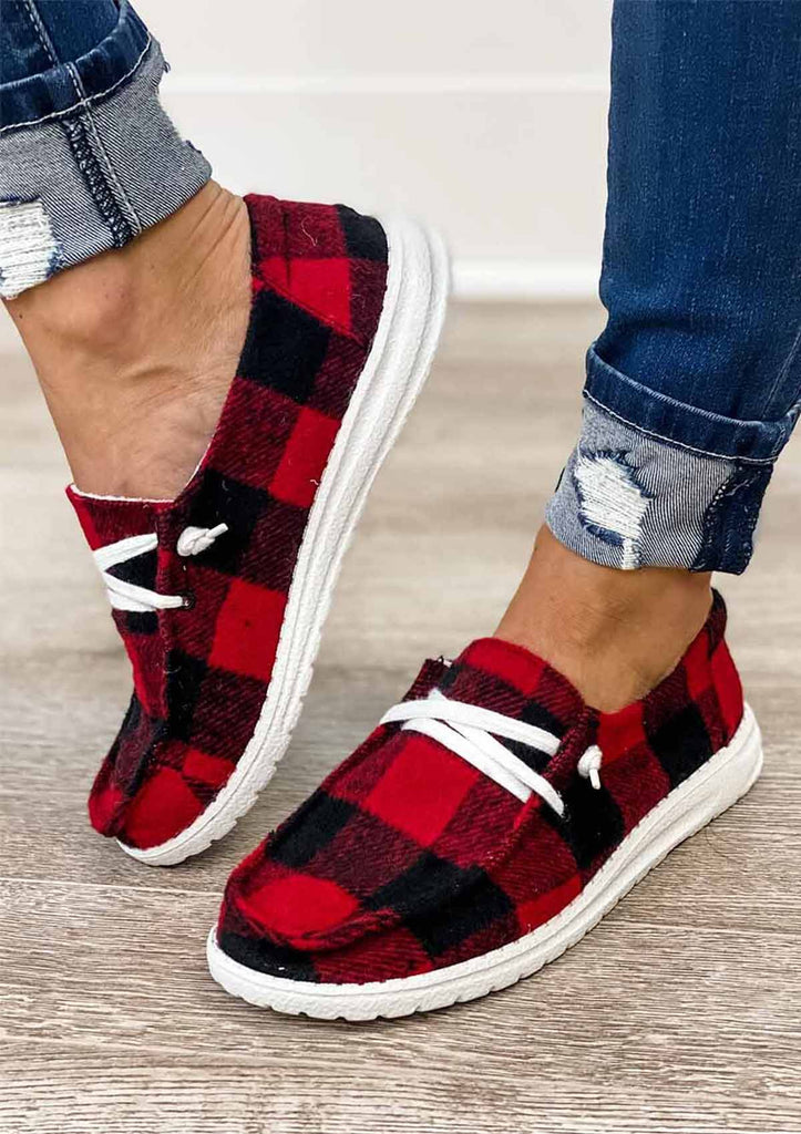 Plaid Printed Lace-up Shoes
