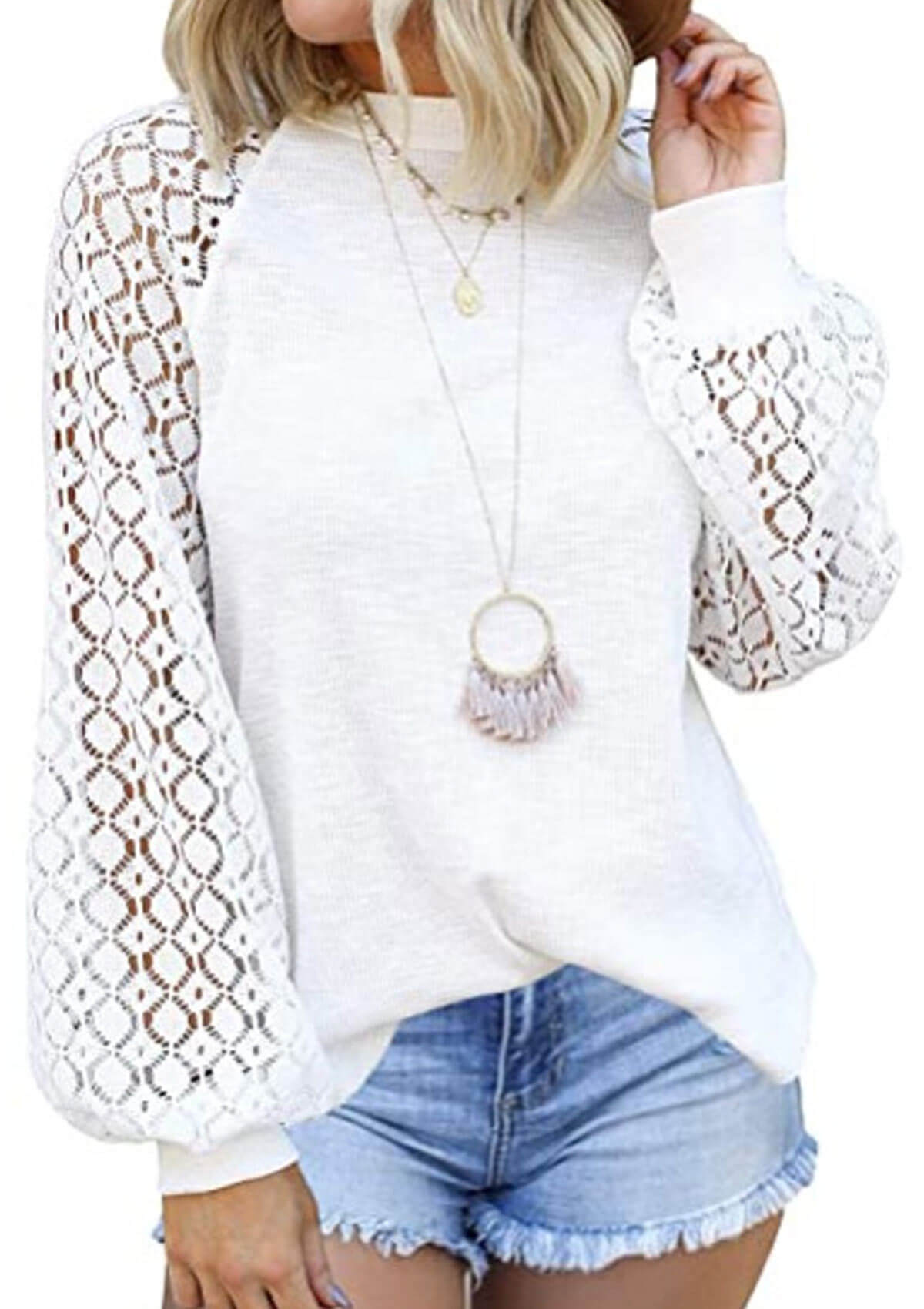Solid Color Lace Hollow Top